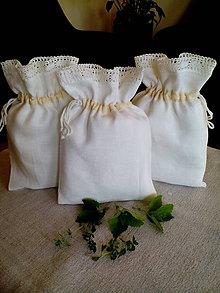 Úžitkový textil - Ľanové vrecúška s ľanovou krajkou - 8223533_
