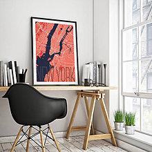 Obrazy - NEW YORK, elegantný, červený - 8223023_