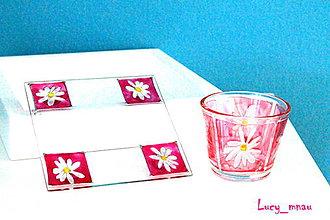 Svietidlá a sviečky - Svietnik a podnos: ružový s bielými kvetinkami :) - 8222747_
