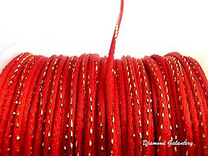 Galantéria - Saténová šnúrka 2 mm s lurexom - červená - 8226508_
