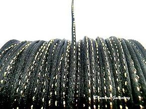 Galantéria - Saténová šnúrka 2 mm s lurexom - čierna - 8226518_
