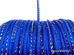 Galantéria - Saténová šnúrka 2 mm s lurexom - kráľovská modrá - 8226540_