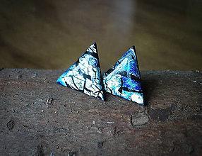 Náušnice - Trojuholníky 20 mm s kovovým efektom (modré) - 8225261_