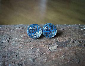 Náušnice - Krúžky 9 mm s kovovým efektom (modré) - 8226831_