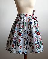 Sukne - zavinovacia folk sukňa s farebnými ornamentami - 8226914_