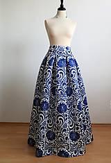 Sukne - slávnostná sukňa Modrý ornament - 8226985_