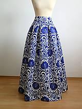 Sukne - slávnostná sukňa Modrý ornament - 8226986_