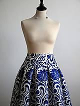 Sukne - slávnostná sukňa Modrý ornament - 8226987_