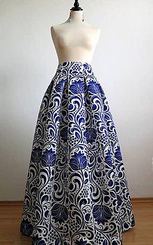 Sukne - slávnostná sukňa Modrý ornament - 8226988_
