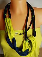Náhrdelníky - Modro-žltý náhrdelník z úpletu - 8225363_