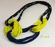 Náhrdelníky - Modro-žltý náhrdelník z úpletu - 8225364_