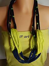 Náhrdelníky - Modro-žltý náhrdelník z úpletu - 8225365_
