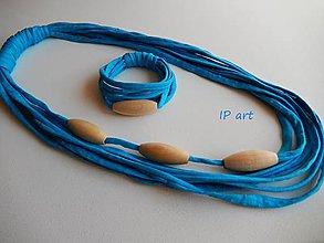 Sady šperkov - Tyrkysový set s drevenými olivami - 8225280_