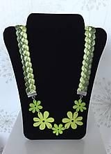 Náhrdelníky - Zelený letný náhrdelník zo saténových stužiek - 8225302_