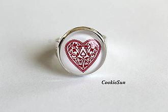 Náušnice - Folk Hearts (Prsteň 16mm) - 8226701_