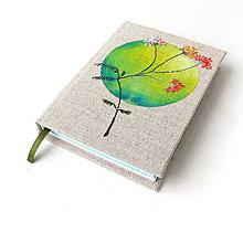 Papiernictvo - Vyšívaný zápisník Zelený kruh s kvetom - A6 - 8227203_