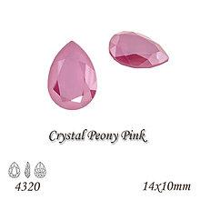 Korálky - SWAROVSKI® ELEMENTS 4320 Pear Rhinestone - Crystal Peony Pink, 14x10, bal.1ks - 8226202_