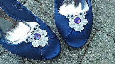 Obuv - Ozdoba na topánky white/blue...soutache - 8229101_