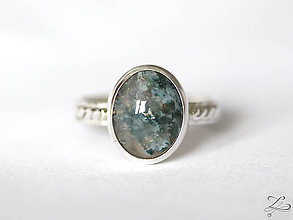Prstene - Strieborný prsteň s machovým achátom- MossFili - 8227507_