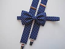 - Pánsky motýlik a traky- bodkovaný set v modrom - 8230224_