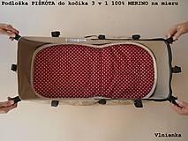 Textil - Univerzálna podložka 3 v 1 do kočíka/ autosedačky/ vaničky 100% MERINO Top celoročná obojstranná BODKA bordová - 8228210_