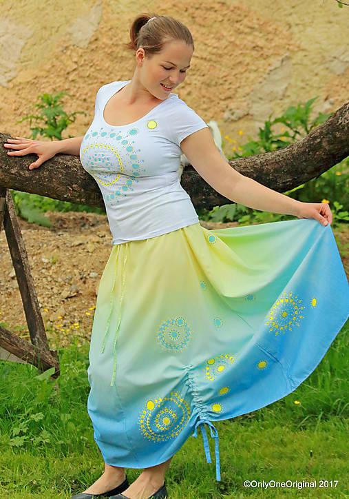 Sukňa šitá, batikovaná, maľovaná, etno SARANYU