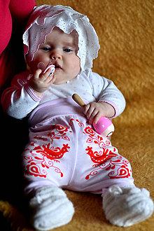 Detské oblečenie - Detské nohavice s ľudovým motívom Jablonické vtáčatko - 8228410_