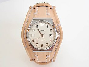 Náramky - Kožený remienok prírodný na starožitné hodinky PRIM s venovaním - 8229457_