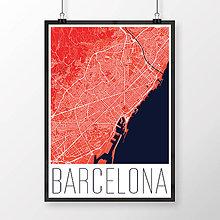 Obrazy - BARCELONA, moderná, červená - 8228082_