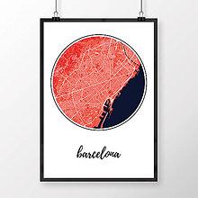 Obrazy - BARCELONA, okrúhla, červená - 8228098_