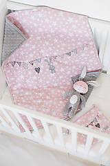 Textil - Detská deka s minky ružovo-šedá - 8228527_