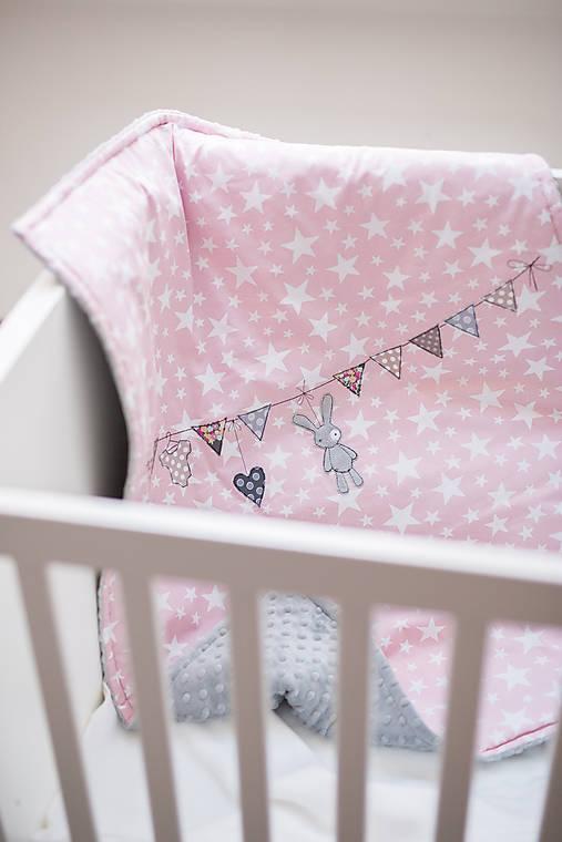 Textil - Detská deka s minky ružovo-šedá - 8228534_