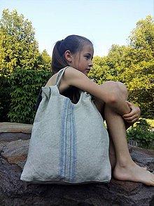 Kabelky - Ľanová taška Blue Stripes - 8228332_