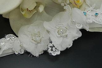 Bielizeň/Plavky - Wedding Flowers Lace Collection ... podvazek - 8232633_