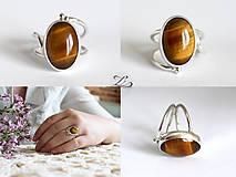 Prstene - Strieborný prsteň s tigrím okom - Line Gold - 8232757_