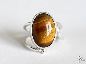 Prstene - ZĽAVA-Strieborný prsteň s tigrím okom - Line Gold - 8232773_