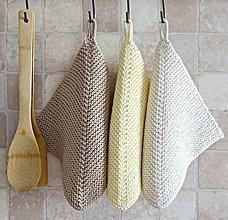 Úžitkový textil - Pletené chňapky - hnedá/svetložltá/prírodná - 8230994_