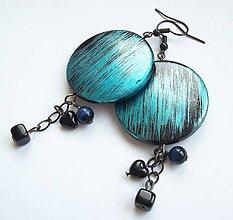 Náušnice - Modré metalky - 8233474_