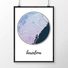 Obrazy - BARCELONA, okrúhla, modro-fialová - 8233488_