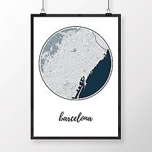 Obrazy - BARCELONA, okrúhla, svetlomodrá - 8233777_