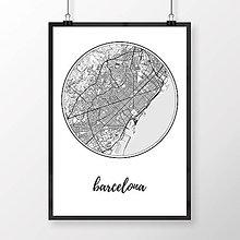 Obrazy - BARCELONA, okrúhla, biela - 8233935_