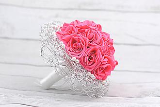 Kytice pre nevestu - Saténová kytica svadobná ružová ruže - 8232086_