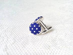 Šperky - Bodkované manžetové gombíky (tmavomodré/biele bodky) - 8235875_