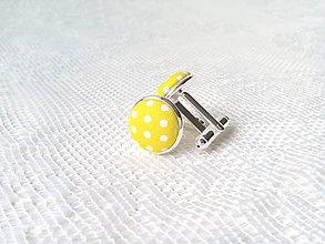 Šperky - Bodkované manžetové gombíky (žlté/biele bodky) - 8235888_