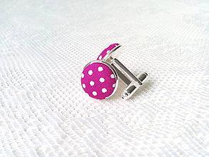 Šperky - Bodkované manžetové gombíky (fuchsia/biele bodky) - 8235891_