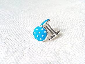 Šperky - Bodkované manžetové gombíky (tyrkysové/biele bodky) - 8235893_