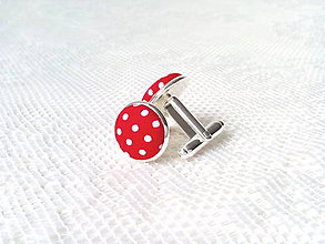 Šperky - Bodkované manžetové gombíky (červené/biele bodky) - 8235898_