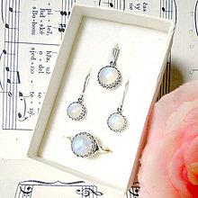 Sady šperkov - Antique Moonstone Silver Ag 925 Set / Sada strieborných patinovaných šperkov s pravým mesačným kameňom - 8236844_
