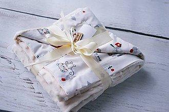 Textil - Minky deka creamy s medvedíkmi 70*90cm - 8235836_