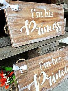 Tabuľky - Obojstranné svadobné tabuľky - Princezná, Princ - 8235573_